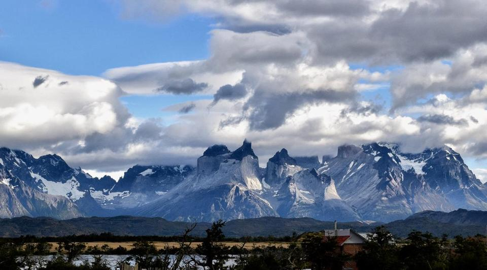 A view of the mountains in Torres del Paine National Park in Magallanes, Chile, as seen from the Hotel Rio Serrano.